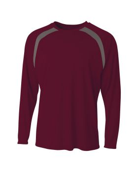 A4 N3003 Men's Spartan Long Sleeve Color Block Crew Neck T-Shirt