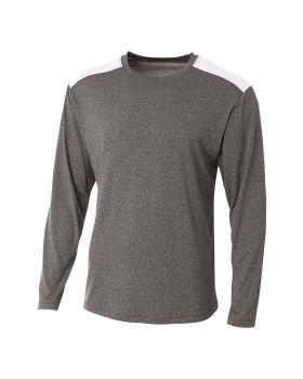 A4 N3101 Men's Tourney Heather Color Block Long Sleeve T-Shirt