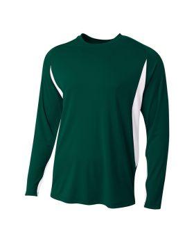 A4 N3183 Men's Long Sleeve Color Block T-Shirt