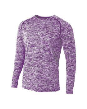 A4 N3305 Adult Space Dye Long Sleeve Raglan T-Shirt