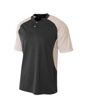 A4 N3315 Adult Performance Contrast 2 Button Baseball Henley T-Shirt