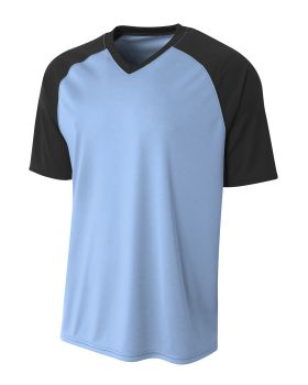 A4 N3373 Adult Polyester V-Neck Strike Jersey with Contrast Sleeve