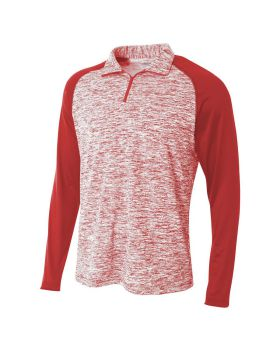 A4 N4249 Adult Space-Dye 1/4 Zip with Contrast Sleeve