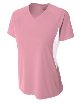 A4 NW3223 Ladies' Color Block Performance V-Neck T-Shirt