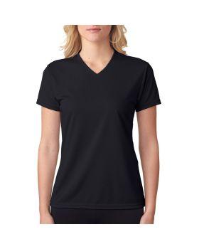 A4 NW3254 Ladies' Birds-Eye Mesh V-Neck T-Shirt