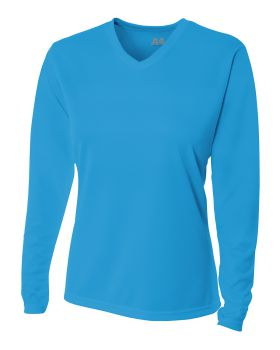 A4 NW3255 Ladies' Birds-Eye Mesh Long Sleeve V-Neck T-Shirt
