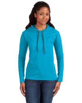 Anvil 887L Ladies Long Sleeve Ring Spun Cotton Hooded T-Shirt