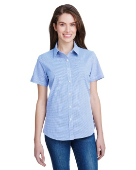 Artisan Collection by Reprime RP321 Ladies' Microcheck Gingham Short-Sle ...