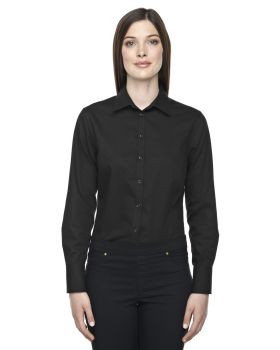 North End Sport Blue 78673 Women Boulevard Wrinkle-Free Two-Ply 80 Cotton Dobby Taped Shirt