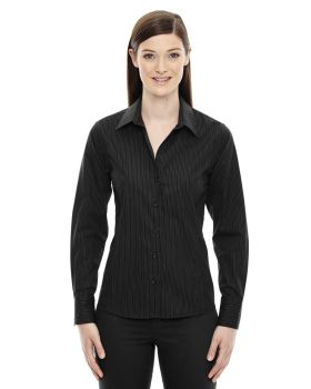 North End Sport Blue 78674 Women Boardwalk Wrinkle-Free Two-Ply 80 Cotton Striped Tape Shirt