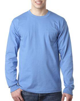 Bayside BA8100 Adult Cotton Long Sleeve Pocket T-Shirt
