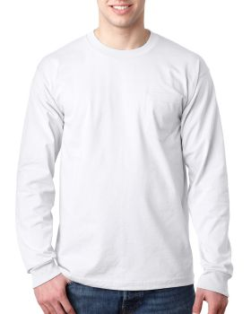 Bayside BA8100 Adult Cotton Long Sleeve Pocket T-Shirt