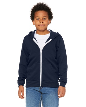 Bella + Canvas 3739Y Youth Sponge Fleece Full-Zip Hooded Sweatshirt
