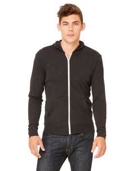 Bella Canvas 3939 Unisex Triblend Full Zip Lightweight Hoodie
