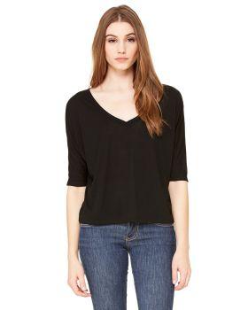 Bella Canvas 8825 Ladies' Flowy Boxy Half-Sleeve V-Neck T-Shirt