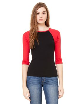 Bella Canvas B2000 Ladies' Baby Rib 3/4-Sleeve Contrast Raglan T-Shirt