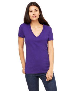 Bella Canvas B6035 Ladies Jersey Short Sleeve Deep V Neck T-Shirt