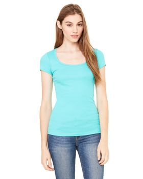 Bella Canvas B8703 Ladies' Sheer Mini Rib Short-Sleeve Scoop Neck T-Shir ...