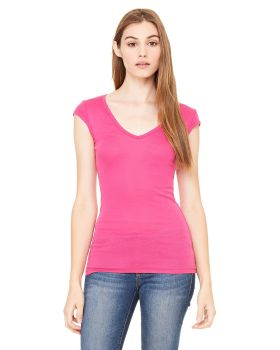 Bella Canvas B8705 Ladies' Sheer Mini Rib Cap-Sleeve Deep V-Neck T-Shirt