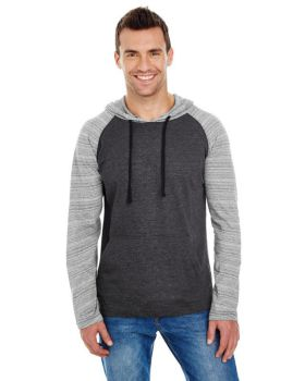 Burnside B8127 Adult Raglan Sleeve Striped Jersey Hooded T-Shirt