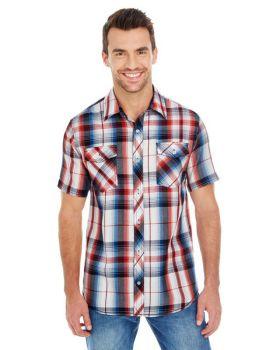 Burnside B9202 Men's Short-Sleeve Plaid Pattern Woven Shirt