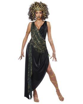 California Costumes 01431 Adult Sedusa Black Fabric Sheen Dress Costume