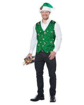 California Costumes 01517 Adult Holiday Vest, Green