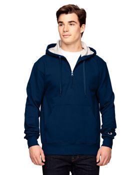 Champion S185 Max Hooded Cotton Quarter Zip Sweatshirt