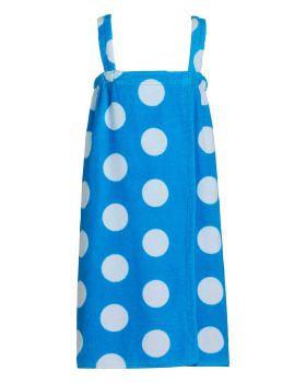 CottonAge KPW Polka Dot Terry Bath Wraps With Shoulder Straps For Girls