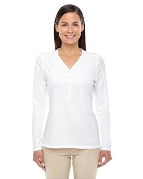 Devon & Jones DP186W Ladies' Perfect Fit Y-Placket Convertible Sleeve Kn ...