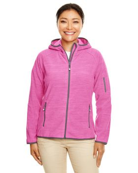 Devon & Jones DP700W Ladies' Perfect Fit Mélange Velvet Fleece Hooded Fu ...