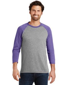 District Made DM136 Men's Perfect Tri 3/4-Sleeve Raglan T-Shirt