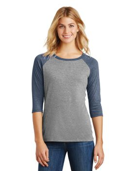 District Made DM136L Ladies Perfect Tri 3/4-Sleeve Raglan T-Shirt