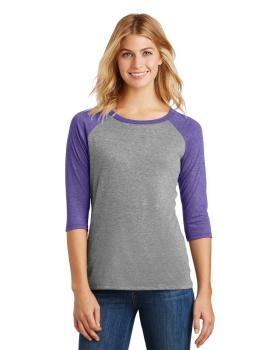District Made DM136L Ladies Perfect Tri 3/4-Sleeve Raglan T-Shirt