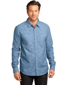 District Made DM3800 Mens Long Sleeve Washed Woven Shirt