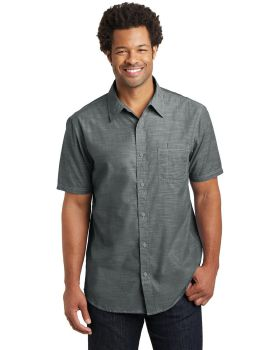 District Made DM3810 Mens Short Sleeve Washed Woven Shirt