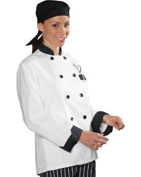 Edwards 3303 10 Button Chef Coat With Black Trim