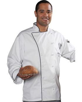 Edwards 3308 12 Cloth Button Classic Chef Coat With Trim
