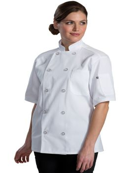 Edwards 3333 10 Button Short Sleeve Chef Coat With Mesh