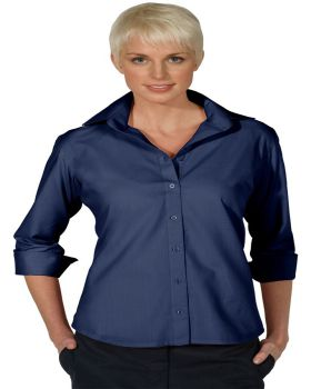 Edwards 5040 Ladies' Lightweight Open Neck Poplin Blouse - Quarter Sleev ...