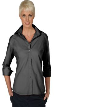 Edwards 5040 Ladies Lightweight 3/4-Sleeve Open Neck Poplin Blouse