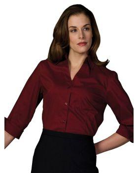 Edwards 5045 Ladies Tailored 3/4-Sleeve V Neck Stretch Blouse