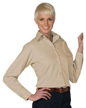 Edwards 5295 Ladies' Lightweight Open Neck Poplin Blouse-Long Sleeve