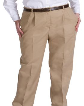 Edwards 8619 Ladies' Business Casual Pleated Chino Pant