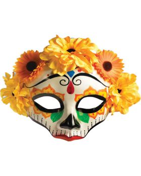 Forum FM74716 Day Of Dead Female Mask W Flws
