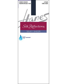Hanes 00775 Women's Silk Reflections Silky Sheer Knee Highs With Reinfor ...