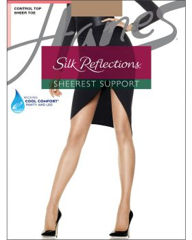 Hanes 0B750 Silk Reflections Sheerest Support Control Top Sheer Toe