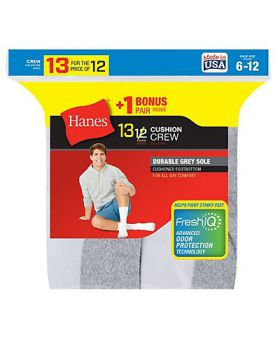 'Hanes 184V13 Men's Cushion Crew Socks 13-Pack (Includes 1 Free Bonus Pair)'