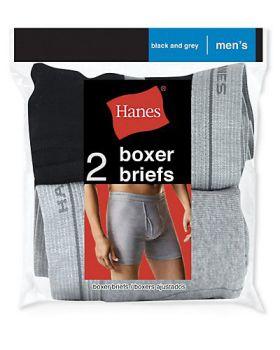 Hanes 2349VT Men's Red Label Boxer Brief Blk/Grey P2