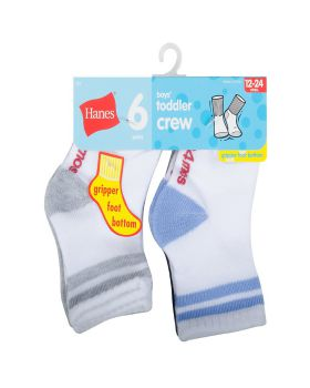 'Hanes 26T6 Infant/Toddler Boys' Crew Socks 6-Pack'
